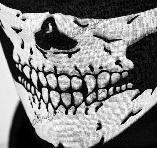 Halloween Masks Skull half Face Mask Outdoor Paintball Ski Sport Motorcycle Bike Helmet Headband Neck Mask Scarf Party Supplies