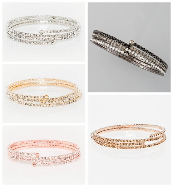 Bridal jewely wedding bracelet bridesmaid gift prom party 3 layer br christmas clear white rhinestone setting rose coil bracelet