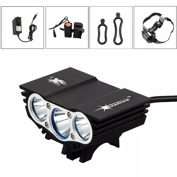 Solarstorm X3 6000 Lumen CREE Lumière De Vélo Noir / Rouge Couleur T6 Avant De Vélo Avec Batterie Bandeau Bandeau Lumières