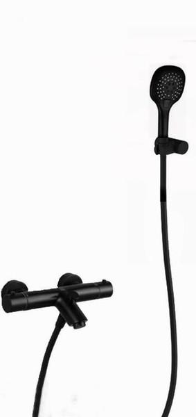 brass copper matte black color bathtub Thermostatic Shower faucet Valve plated solid brass bath mixer black shower and pvc hose TV00B