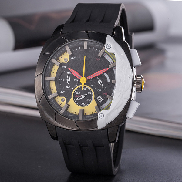 AAA+quality men rubber sports F1 watch Six pointer work grand dial automatic quartz watches montre james bond offshore relogio wristwatch