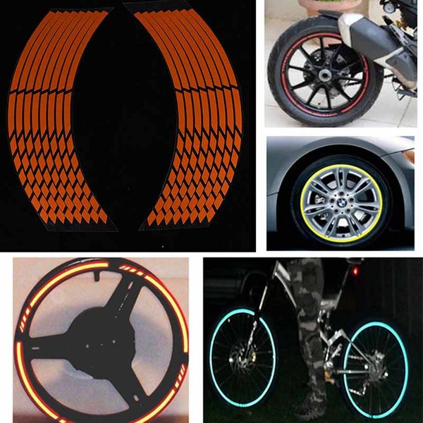 16 Strips Reflective car rim tape sticker Special Orange Motorcycle Car Rim Stripe Wheel Decal Tape for Dressing up the