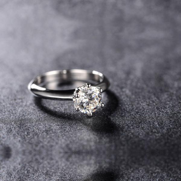 AINUOSHI 0,5 / 1 / 1,5 / 2/3/4 Luxus SONA Synthetische Ring Vintage Braut Engagement Liebhaber Finger Ring Frauen Elegante Hochzeitsgeschenk