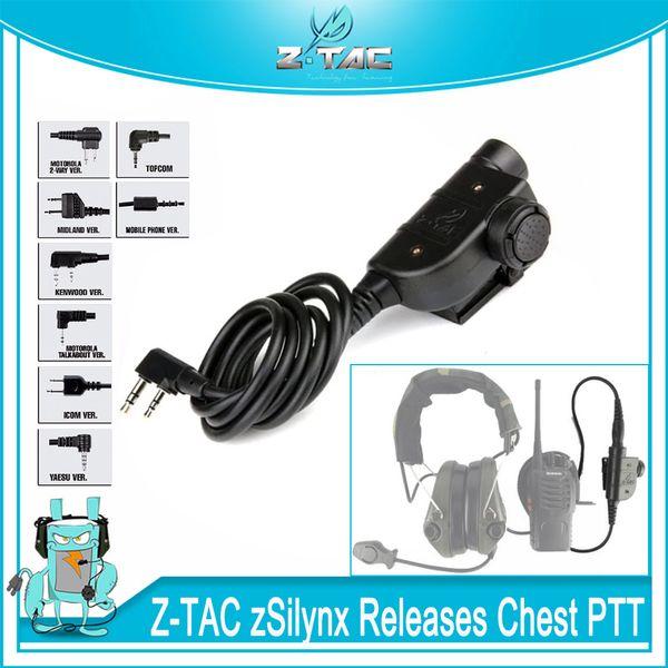 Z-Tactical zSilynx Releases Ch Waterproof PTT For Comtac Headset fit Baofeng UV-5R UV-6R UV-82 UV-B6 TYT TH-UVF9 Radio Kenwood/Icom/ Midland
