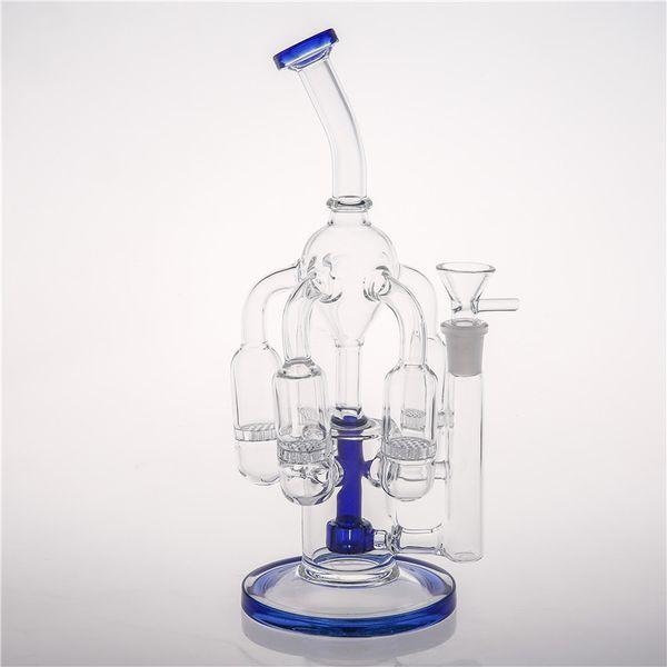 Five Honeycomb Perc Glass Smoking Heady Bongs Beatiful Design Water Pipes Good Filtering Handmade Oil Rigs