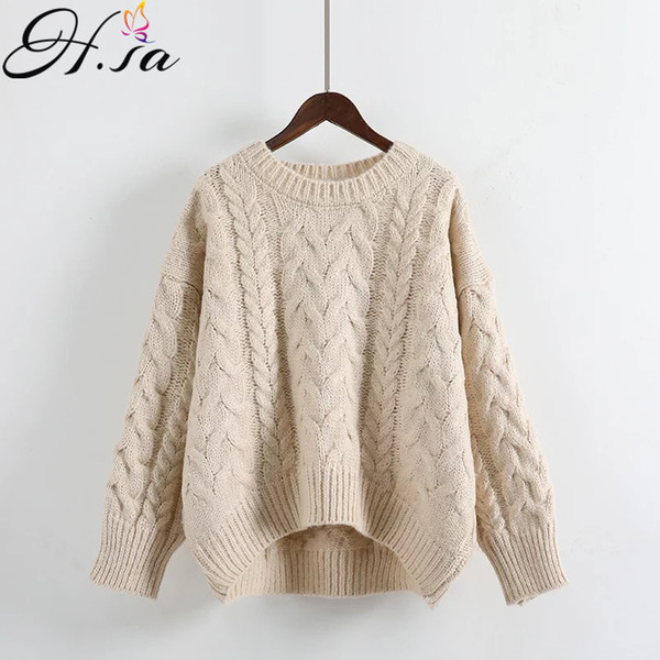 H.SA Women Oversized Sweater and Pullovers 2018 Spring Casual Knitted Jumpers Twisted Girls Loose Pullovers Warm female sweater