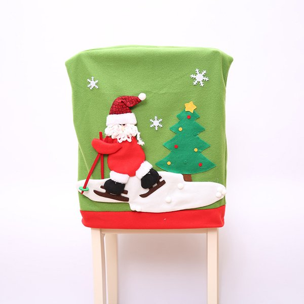 Christmas Tree Dining Snowman Deer Skiing Decorative Chair Seat Cover for Christmas Party Home Hotel Decoration