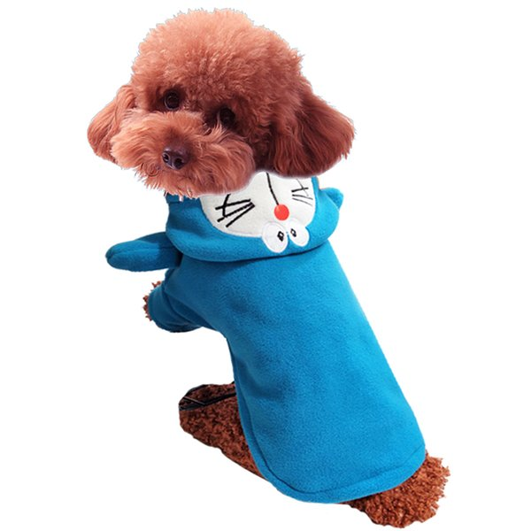 Free shipping Blue pet apparel clothing,standing vest puppy coat carton Doraemon costumes apparel for dog/cat