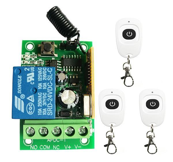 Neue DC12V 24 V 1 CH 1CH RF Drahtlose Fernbedienung Schalter System Sender + Empfänger Mit Einem Knopf, 315 433.92MHZ Garage Türen