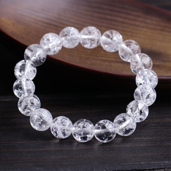 Pedras naturais Limpar Pulseiras De Quartzo Rodada Beads Bangle Material Das Mulheres Dos Homens De Cristal De Quartzo Gemstone Jóias Presente Da Energia Do Amor