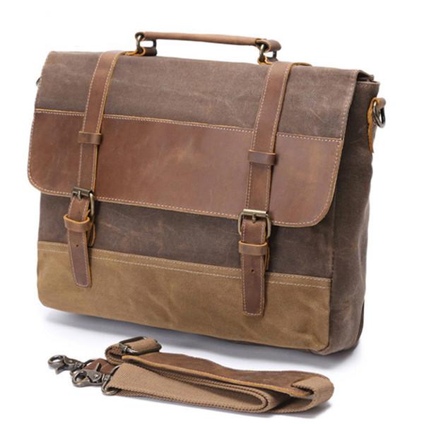 Retro Men Canvas Laptop Messenger Bag Leather Waterproof Crossbody Shoulder Bags