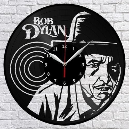 Bob Dylan Music Vinyl Record Wall Clock Fan Art Home Decor Handmade Art Personality Gift (Size: 12 inches, Color: Black)