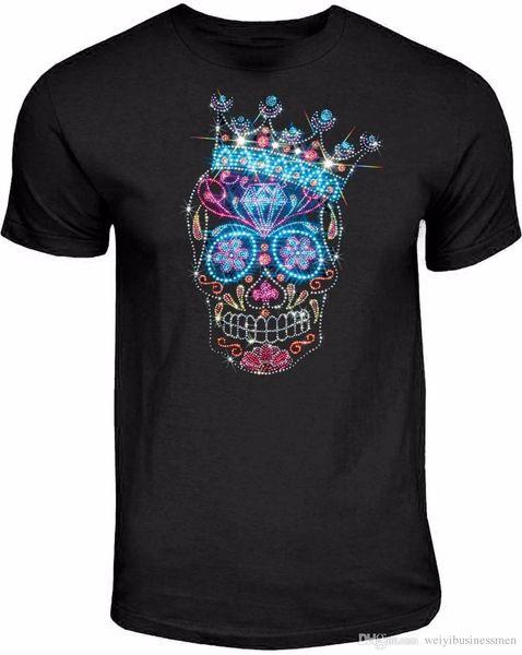 Strass Studs Sugar Skull Camiseta Reis Coroa Dia De Los Muertos S Para 3XL Marca T-Shirt Dos Homens 2018 Moda