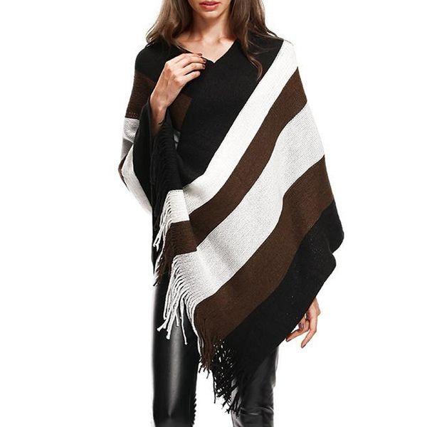 Womens Fashion Spring Autumn Striped 2018 Loose Irregular Sweaters Tassel Cloak Shawl Sweaters Female clothing WS9280K