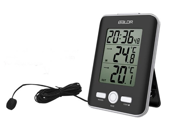 New LCD Digital Thermometer Wired Sensor Indoor Outdoor Home Probe Temperature Trend Meter Snooze Table Watch Alarm Clock SN1071