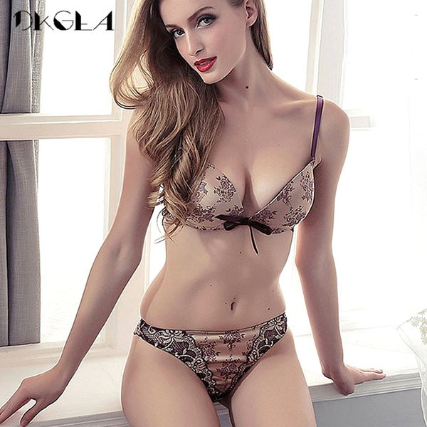 6e64d9f8e76 Luxury Printing Underwear Set Women Bow Fashion Red Push Up Bra Panties Sets  Sexy Lingerie Embroidery