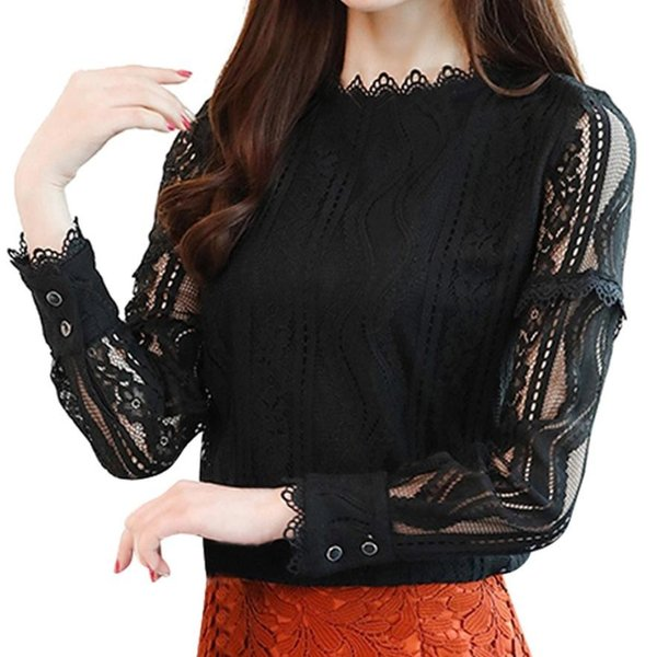 woman tshirt tops summer Office Lace Striped Floral Long Sleeve Slim Work Lace T Shirt Tops Ruffles Stand Collar 3xl