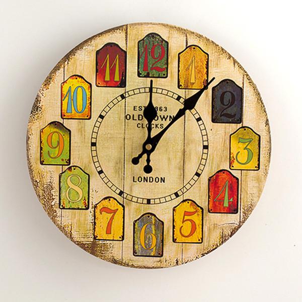 Relógio de Parede Silencioso do vintage Europeu Retro Handmade Decorativa Relógios De Parede Quarto Cozinha Sala de estar Presentes De Madeira De Quartzo Relógio de Parede