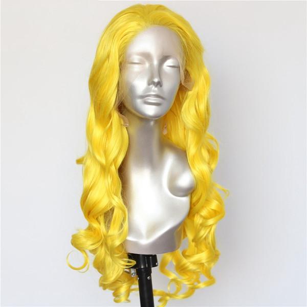 Luckystar Хэллоуин Парики Натуральные Длинные Волнистые Желтый Цвет Термостойкие Волокна Волос Glueless Синтетические Парики Фронта Шнурка для Cospaly Drag Queen