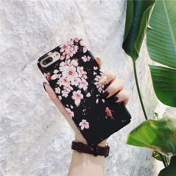 For Iphone X Phone Cherry Blossoms Girl Pc Hard Shell Matte Feel Upscale Cell Phone Case For Iphone 6 7 8 Plus Samsung