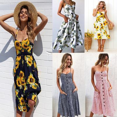 Women Summer Boho Casual Long Maxi Evening Party Cocktail Beach Dress Sundress Print Flower Sleeveless Sexy Backless Strap Dress