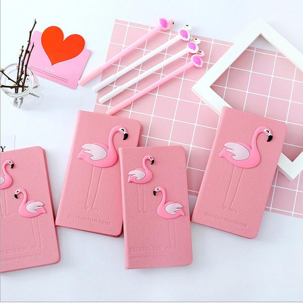 Rose Flamingo Notebook Box Set Journal avec Gel Pen Papeterie Fournitures Scolaires Cadeau pour Filles Enfants Étudiants Un cadeau d'école