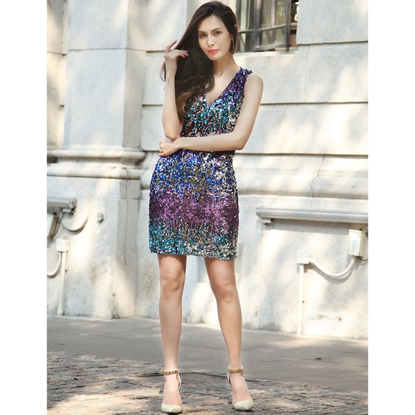 2018New fashion women's skirt for women clothes in spring and summerSexy deep V dress metal Sequin dress