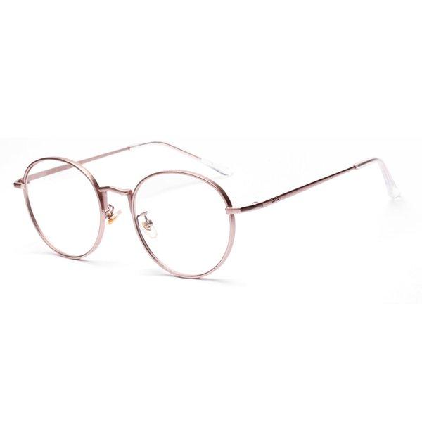 6bc1aa3850 2018 New Fashion Optical Frame Retro Round Frame Eyeglasses Women Men  Artistic Metal Glasses Gold Pink