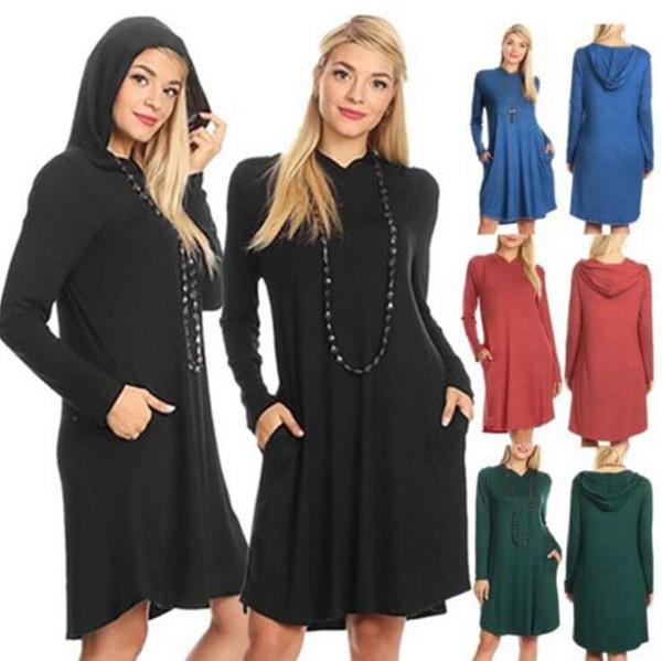 Women Long Sleeve Hoodie Sweatshirt Hooded Coat Pullover Dress Solid Color Pockets Loose Women Dresses LJJO4128