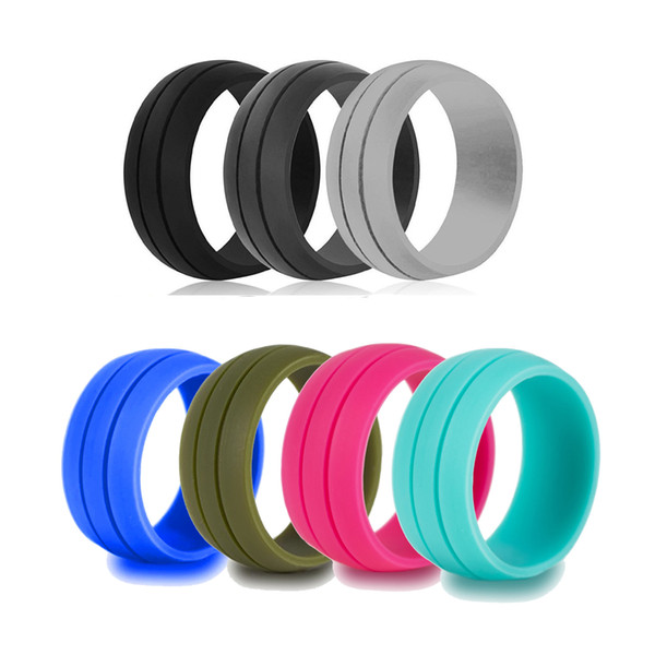 top popular Silicone Wedding Rings Men Women Flexible Rubber Ring 8.5 mm Colored Silicone Rings Outdoor Sports Rings 2019