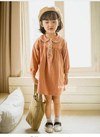 Autumn 2018 new children's clothing girls long-sleeved cotton dress solid color dress children dress