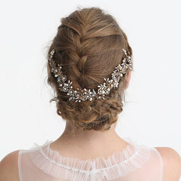 2019 Antique Gold Flower Nupcial Headpiece Folha Headband Do Casamento Tiara De Cabelo Videira Acessórios Artesanais Mulheres Cabelo Jóias
