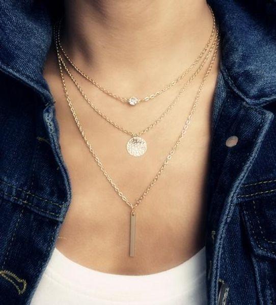 Großhandel-Mode-Accessoires Schmuck New Bohemia 3 Schicht Kettenglied Wafer Halskette Geschenk für Frauen Mädchen Großhandel N1622