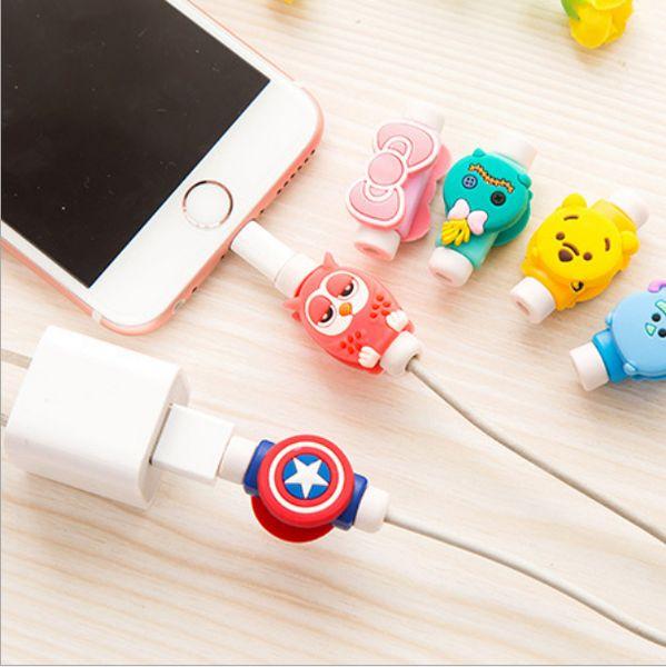 1037 creative mobile phone data line protection set, cartoon headphone, charging line, anti break protector, winding device.