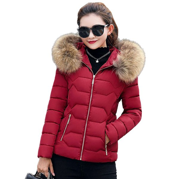 Parka Women 2017 New Hooded Faux Fur Collar Short Quilted Jackets Winter Warm Soft Women's Down Cotton Padded Coat Jacket