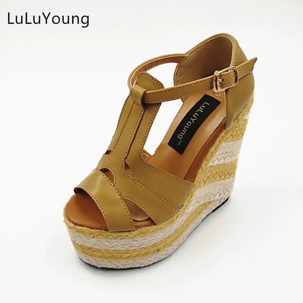 Kadın takozlar 13.5 cm yüksek topuklu sandalet Saman topuk ayakkabı Rahat platform ayakkabı burnu açık sy-1119