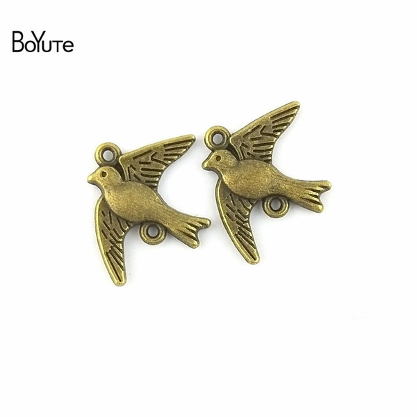 BoYuTe (100 Pieces/Lot) 18*22MM Vintage Diy Accessories Parts Wholesale Antique Bronze Plated Alloy Birds Connector for Jewelry Components