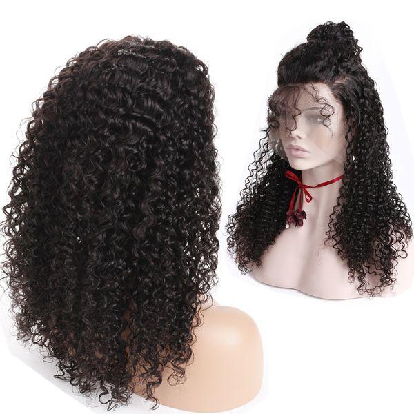 180% Densité 360 Dentelle Frontale Bouclés Perruques Avec Bébé Cheveux Pré Pincée Délié Pleine Dentelle Perruque Pour Les Femmes Noires Brésilien Remy Cheveux