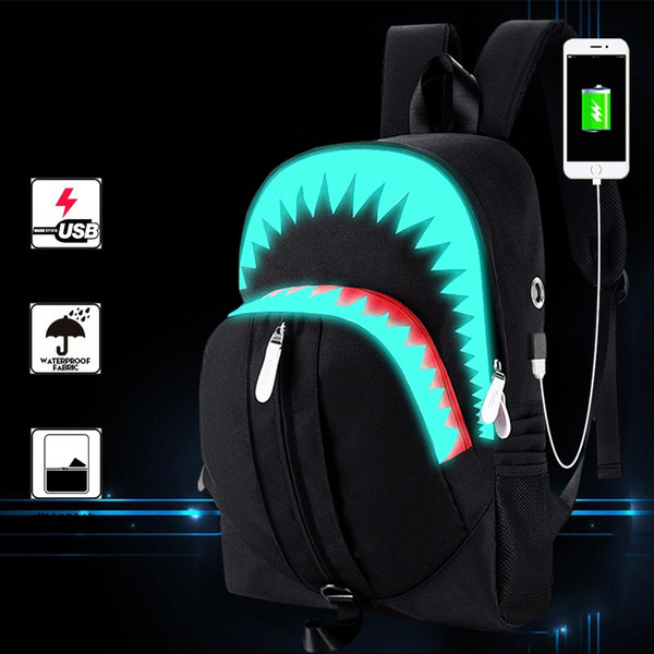 "Laptop bag for 15.6"" notebook computer Luminous shoulder bag male big mouth shark USB function backpack student"
