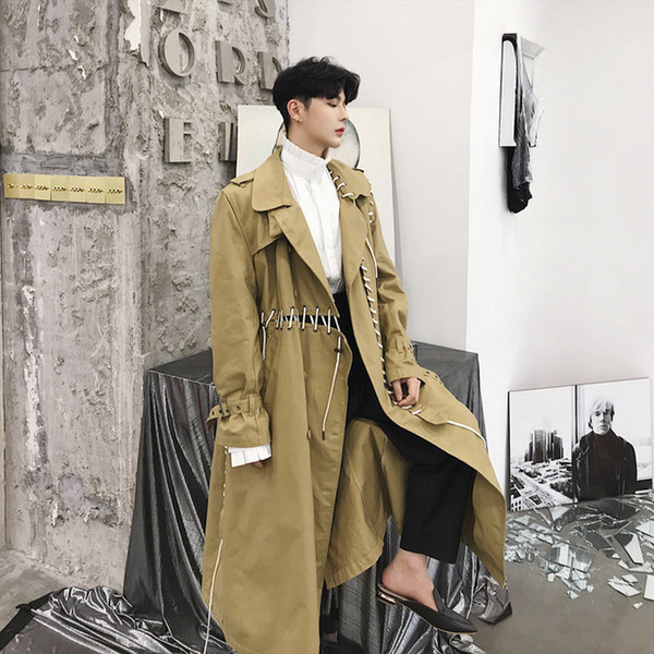 Mâle Punk Gothique Lâche Pardessus Hommes Casual Trench-Coat Ruban Spliced Long Cardigan Coupe-Vent Veste Harajuku Survêtement