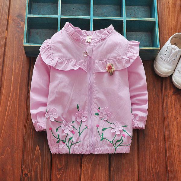 Cola bebek kız mont kız çocuk giyim çocuklar için bahar bebek kız ceket ceket kız bebek çiçek baskılı coats