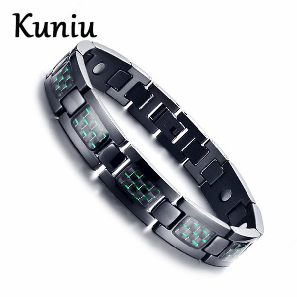 23CM Black Color Green carbon fiber four-in-one magnetic bracelet Mens Titanium steel Magnet Germanium Bracelet Dropshipping