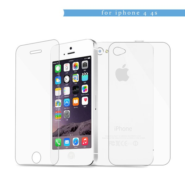 0.3mm Front+Back Tempered Glass for iPhone 4 4s 2.5D Arc Edge Screen Protector guard film with Clean Tools