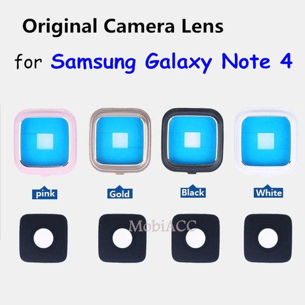 Galaxy Note 4 için 100% Orijinal Orijinal Geri Arka Cam Kamera Lens + Galaxy Note 4 için Metal Çerçeve Yedek parça