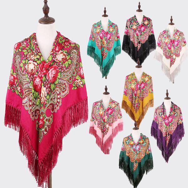 Hot Sale Women Russian Flower Printing Square Scarf Shawl Long Tassel Oversized Floral Bandana Wrap Cape Stole 135*135CM S18101904