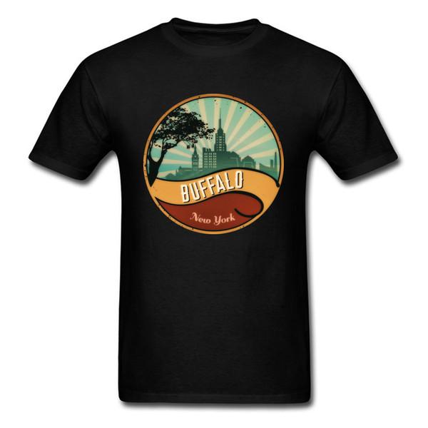 Maglietta personalizzata da uomo Maglietta da uomo Buffalo City Skyline Maglietta New York Vintage Maglietta da uomo 80s Prevalent Tee Cotton Felpa
