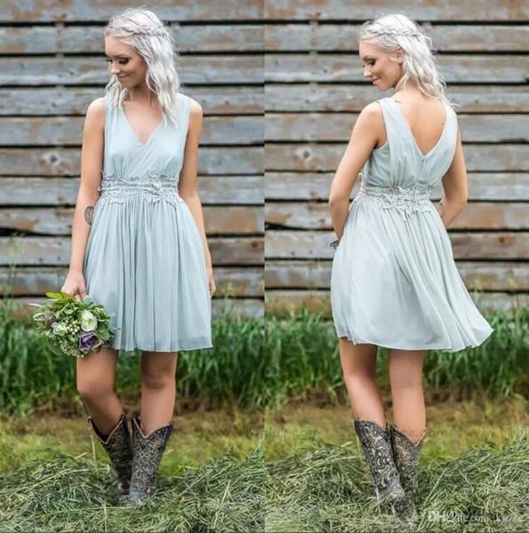 2019 Sexy V Neck Chiffon Short Country Bridesmaid Dresses Lace Applique Knee Length Maid of Honor Plus Size Wedding Guest Dresses BM0140