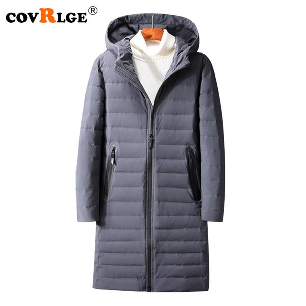 Covrlge 2018 Winter Men Down Jackets New Fashion Slim Fit Long Jacket Coats mens Solid Plus Size White Duck Down Coat MWY018