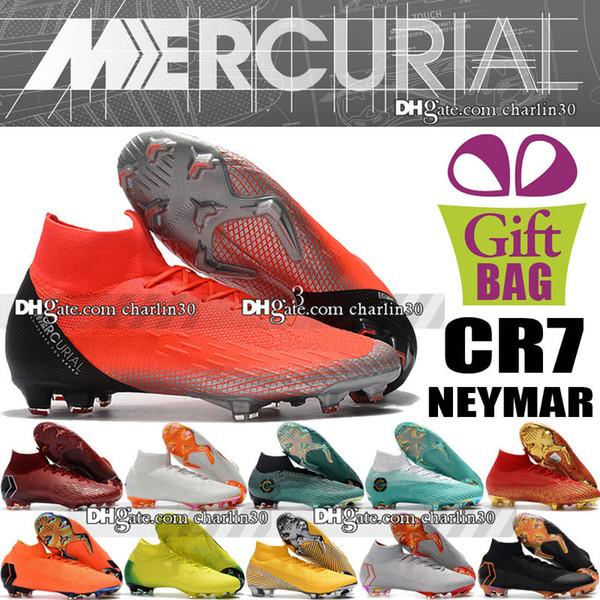 Nouveau Mercurial Superfly VI 360 Elite FG Football Bottes Haute Cheville CR7 Cristiano Ronaldo ACC Chaussures De Football En Plein Air Neymar Chaussettes Chaussettes De Football