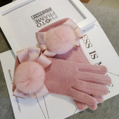 Entwerferhandschuhe für Handschuhe der Frauen fünf Finger rosafarbener bowknot venonat Golves-Touch Screen reizende Wollhandschuhe heiße Art und Weise geben Verschiffen frei